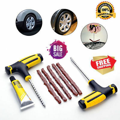 Car Tubeless Tyre Tire Puncture Repair Plug Repairing Kit Needle Patch Fix olv