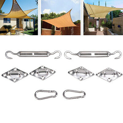 8Pcs Stainless Steel Garden Sun Sail Shade Fixing Fittings Hardware Installation