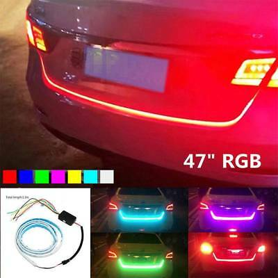 "47""RGB LED Car Rear Trunk Strip Flow Light Tailgate Drive Brake Turn Signal Lamp"
