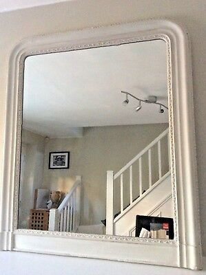French Mirror Antique with Wooden carved Frame Painted