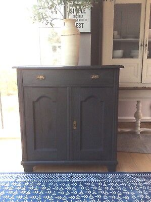 French Antique Pine Large Cupboard Painted Railings F&B