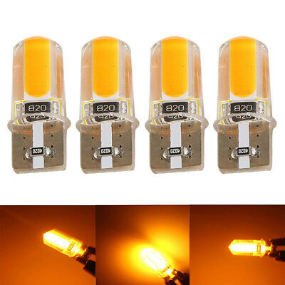 4x T10 194 168 W5W COB LED Car Canbus Silica Width Light Bulb Amber Yellow NEW~