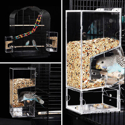 Acrylic Bird Feeder Automatic Seed Feeder Cage Parrot Canary Cockatiel Supplies