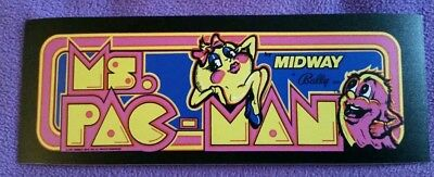 Ms. Pac Man marquee sticker. 3 x 8.5. (Buy 3 stickers, GET ONE FREE!)