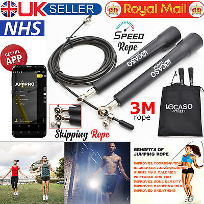 Skipping Rope Adjustable Cable Gym Fitness Training Jump Speed Jumping Rope 9ft