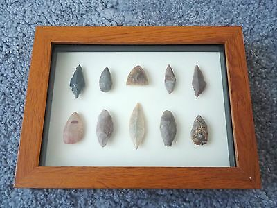 Neolithic Arrowheads in 3D Picture Frame, Authentic Artifacts 4000BC (0447)