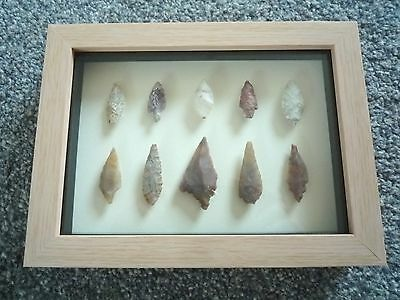 Neolithic Arrowheads in 3D Picture Frame, Authentic Artifacts 4000BC (0794)