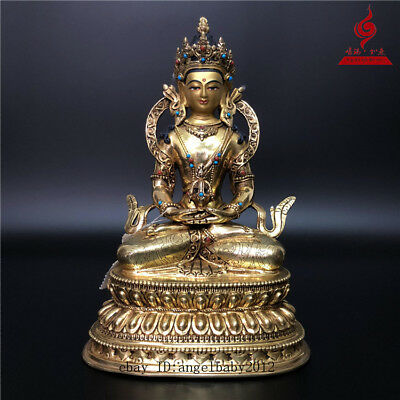 "9"" China Tibet old bronze copper gilt Buddhism Amitabha Longevity Buddha statue"
