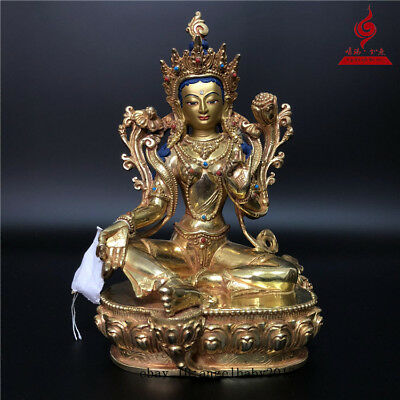 "9"" China Tibet old copper gilt inlay gemstone Turquoise Green Tara Buddha statue"