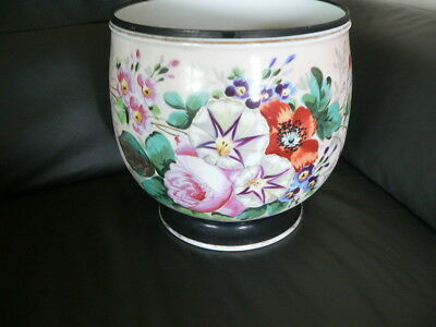 grand cache pot ancien en porcelaine à décor de fleur