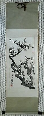 Antique Vintage Long Chinese Scroll Painting with Fabric Mount