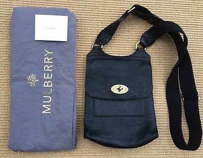 Genuine Mulberry Antony Black Leather Messenger Bag - Rrp £625 Superb 3453aea9a2294