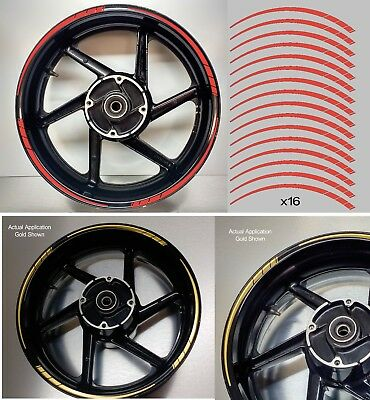 Tapered Motorcycle Wheel Rim Red Tape stickers decal 10mm width 003
