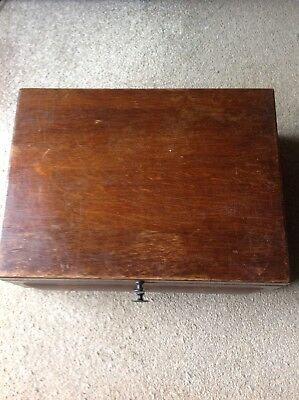 Antique Victorian Large  Wooden Jewellery / Document/Cutlery Box