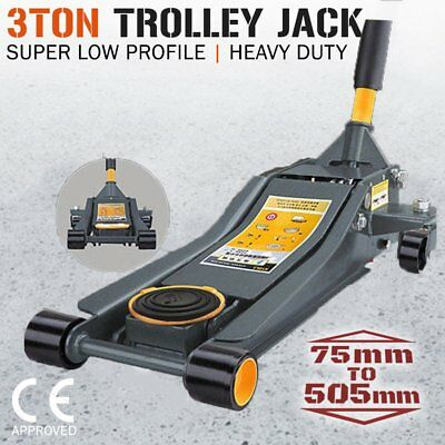 3TON Super Low Profile Hydraulic Car Trolley DUAL PUMP 3T Floor Jack 75-505mm
