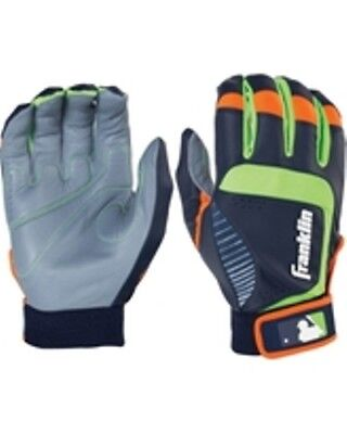 Franklin Youth Large Batting Gloves Sports Shok Sorb Neo Gray Green Orange NWT