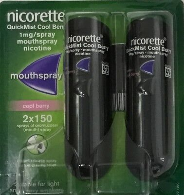 Nicorette Quickmist Cool Berry 1mg/spray Mouthspray - 2 x 150 sprays  (Genuine)