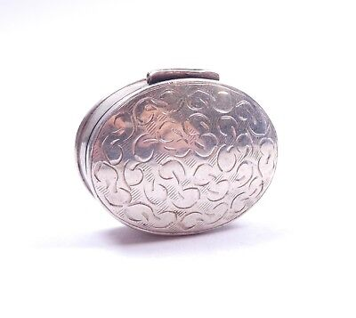 Pill Poison Box Oval 925 Sterling Silver English Sheffield Hallmarked 10.1g