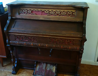 Old Peddle Organ Keyboard Piano Detroit USA Carved Wood Farrand