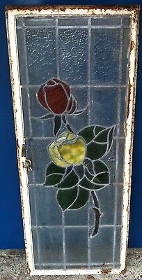 Large Reclaimed Vintage Stained Glass Leaded Window.