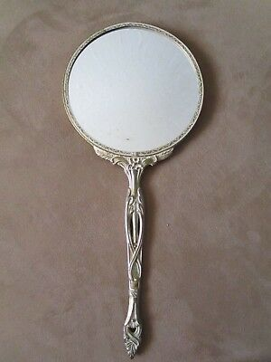 Antique Vintage Art Deco Ornate Vanity Lady's Hand Held Mirror Silver Magnifying