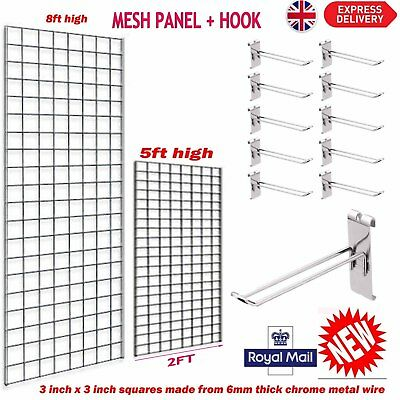 Gridwall Mesh Chrome Retail Shop Display Panels Bases Fixing Brackets + HOOKS NR