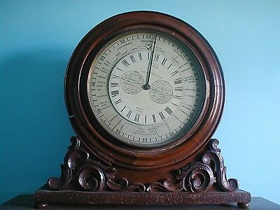 Extremely Rare Large Antique Mahogany World Time Clock Fusee Movement