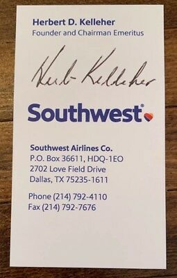 Herb Kelleher SIGNED BUSINESS CARD PSA DNA JSA GUARANTEE AUTO Southwest Airlines