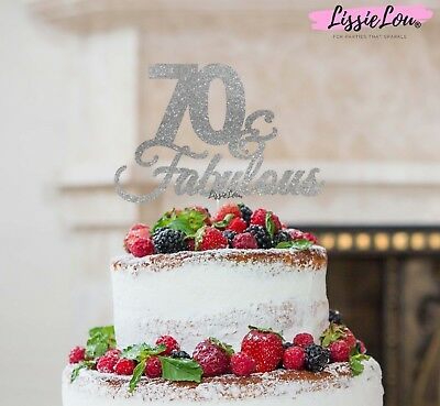 LissieLou 70 & Fabulous Cake Topper 70th Birthday Glitter Card Made in the UK