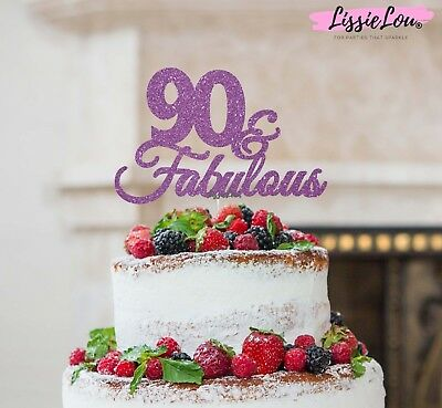 LissieLou 90 & Fabulous Cake Topper 90th Birthday Glitter Card Made in the UK