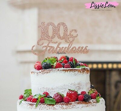 LissieLou 100 & Fabulous Cake Topper 100th Birthday Glitter Card Made in the UK