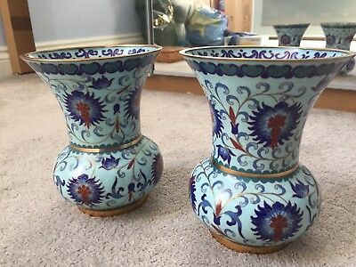 Pair Of Vintage Oriental Cloisonné Enamel Decorative Floral Vase Blue Background