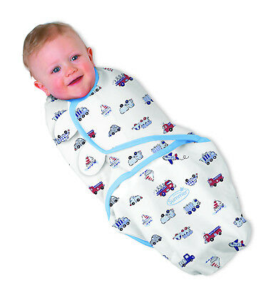 Summer Infant Swaddle Me Baby Swaddling Blanket wrap 7 - 14 lbs blue cars 3 pk