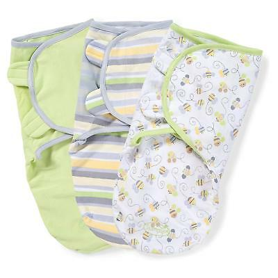 Summer Infant 3 pk Swaddle Me Baby Swaddling Blanket wrap 7 - 14 lbs Busy Bee