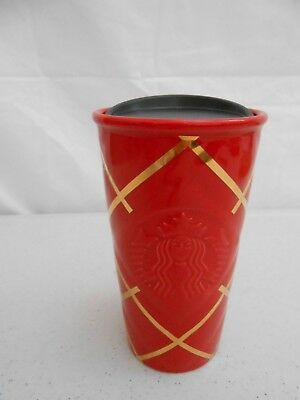 New 2016 Starbucks Double Wall Red Gold Quilted Siren Travel Tumbler Cup
