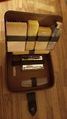 Men's Vintage Brown Leather Travel Toiletry Grooming Set