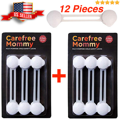12 pack Child Safety Locks -Flexible Baby Latches for Cabinets Toilet Lids Ovens