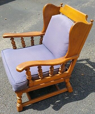 Vtg Mid Century Country Lodge Rustic Wingback Colonial Armchair Ethan Allen ?