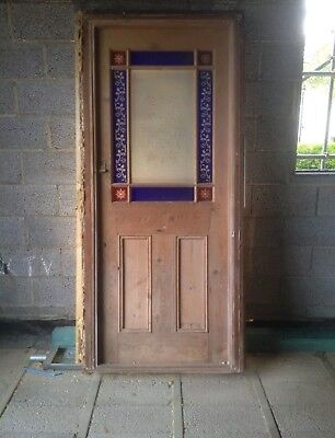 Solid Wood Victorian Reclaimed Antique Front Door Coloured glass Glazed Frame