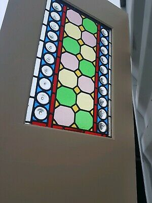 Reclaimed Vintage Leaded Stained Glass Internal Interior Glazed Door...