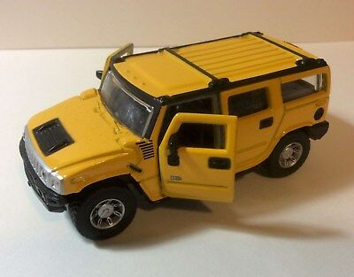 Hummer H2 SUV Maisto Diecast 1:46 Scale Yellow Diecast Pullback Action