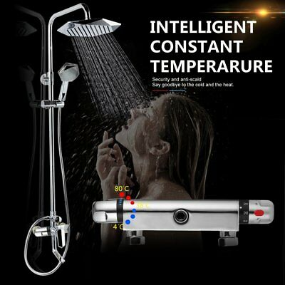 New Wall Mounted Chrome Thermostatic Shower Bar Mixer Valve Tap Bathroom Outlet