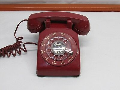Vintage 1980s Western Electric Rotary Dial Red Desk Top Phone Telephone