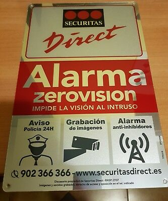 Nueva Placa Grande Disuasoria Securitas Direct - Alarma Verisure-2018!!!