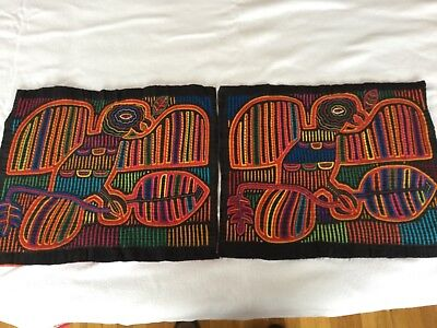 Pair of vintage Molas made by the Cuna Indians PRICE REDUCED!