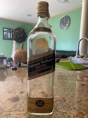 Vintage Johnnie Walker Black Label Bottle 1970  EMPTY Extremely RARE Authentic