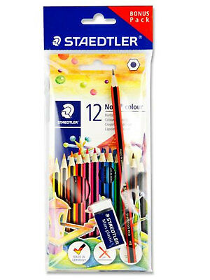 STAEDTLER Colouring Pencils Box of 12 with Free Pencil & Eraser Drawing Art Set