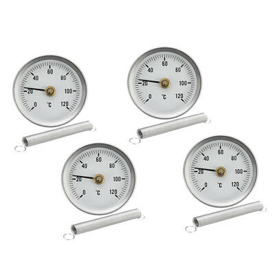 4PCS Pipe Spring Clip-on Thermometer Economy 63MM 0-120 ℃ Temperature Gauge