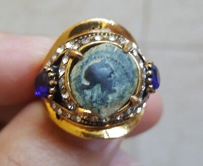 Authentic Genuine Ancient Bronze Coin of Cleopatra Gold Tone Ring