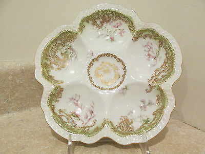 Antique Haviland Limoges China Porcelain Shell & Seaweed Oyster Plate Green Gold